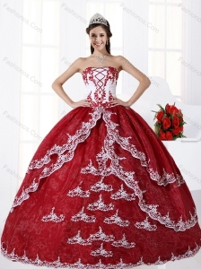 Multi Color Strapless Quinceanera Dress with Embroidery