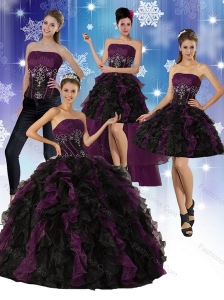 Multi Color Strapless Quinceanera Dress with Ruffles and Embroidery