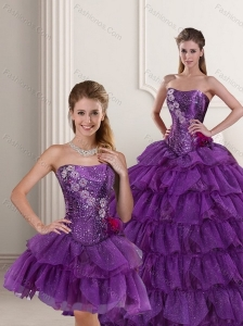 Perfect Strapless Purple Quince Dress with Ruffled Layers and Beading