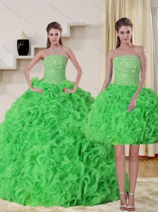 Pretty Strapless Spring Green Quince Dress with Beading and Ruffles