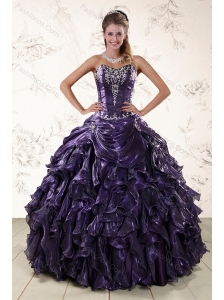 Purple Sweetheart Floor Length Quince Gowns Embroidery and Ruffles
