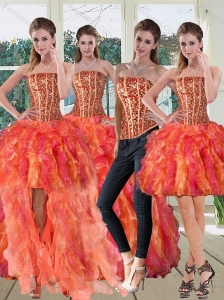 Strapless Multi Color Dress for Quinceanera with Beading and Ruffles