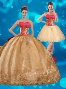Strapless Multi Color Quinceanera Dress with Beading and Embroidery