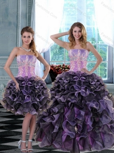 2015 Elegant Appliques and Ruffles Quinceanera Dresses in Multi Color