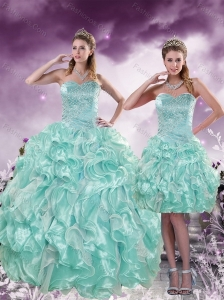 2015 Fashionable Beading and Ruffles Aqual Blue Quince Dresses
