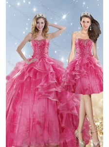 2015 Hot Selling Coral Red Dresses for Quinceanera with Beading and Ruffles