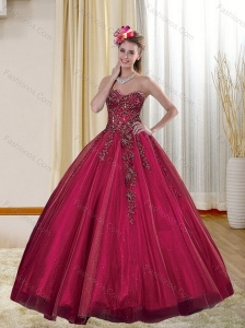 2015 Luxurious Burgundy Quinceanera Dresses with Appliques