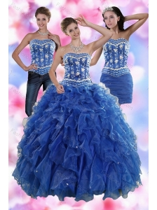 2015 Sophisticated Ruffles and Beading Quince Dresses in Royal Blue