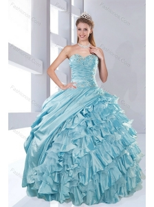 Luxurious Sweetheart Beading Aqua Blue Quinceanera Dresses in Taffeta for 2015