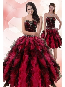 Multi Color Sweetheart Sweet 15 Dresses with Ruffles and Beading for 2015