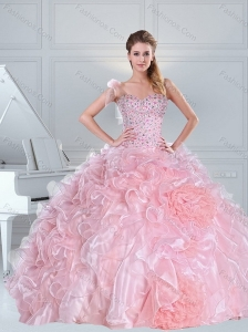One Shoulder Baby Pink Quinceanera Dresses with Ruffles and Beading
