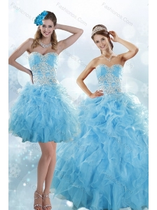 Sophisticated Appliques and Ruffles Baby Blue Sweet 15 Dresses