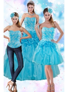Sophisticated Teal Quince Dresses with Embroidery and Pick Ups