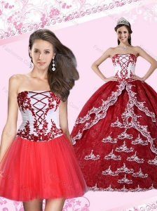 2015 Appliques Strapless Quinceanera Dress in Multi Color