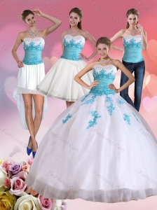 2015 Beautiful Strapless Beading and Appliques Quinceanera Dress in White and Blue