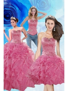 2015 Brand New Coral Red Sweet 16 Dresses with Beading and Ruffles