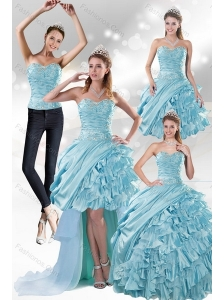 2015 Custom Made Aqua Blue Quiceanera Dresses in Taffeta