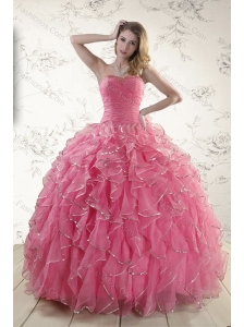 2015 Elegant Rose Pink Quince Dresses with Paillette and Ruffles