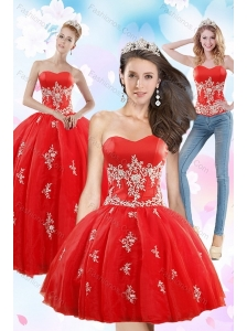2015 Exquisite Strapless Red Quince Dresses With Appliques