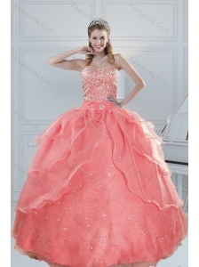 2015 Fabulous Watermelon Quinceanera Dresses with Beading