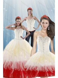 2015 Fashionable Multi Color Quinceanera Dresses with BeadingLayers