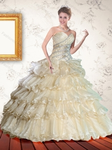 2015 Gorgeous Champagne Quinceanera Dress with Appliques and Ruffles