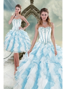 2015 Pretty Appliques and Ruffles Quince Dresses in Multi Color