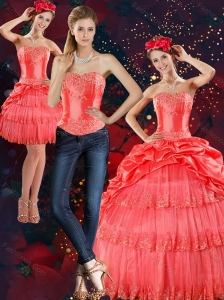 2015 Strapless Quinceanera Dresses with Pick Ups and Beading