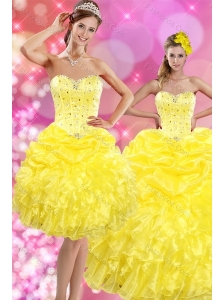 2015 Sweetheart Yellow Sweet 15 Dresses with Beading and Ruffles