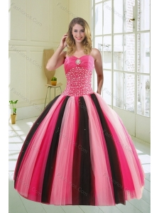 Beautiful Multi Color Sweetheart Beading Quince Dress for 2015