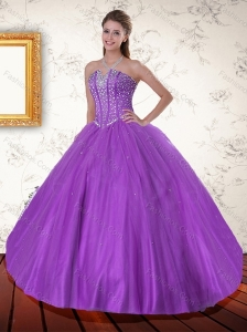 Beautiful Purple Sweetheart Quinceanera Dress with Beading for 2015