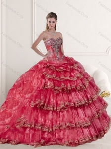 Classical Coral Red Dress for Quinceanera Dress with Appliques and Ruffled Layers