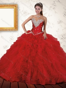 Exquisite Red 2015 Quinceanera Dress with Beading and Ruffles