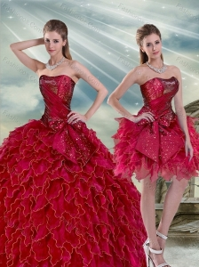 Gorgeous 2015 Ruffles and BeadingWine Red Sweet 16 Dresses