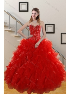Gorgeous 2015 Sweetheart Red Quince Gowns with Beading and Ruffles