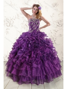 Lovely Purple Strapless Appliques and Ruffles Quince Dresses for 2015