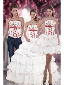 Lovely White Quince Dresses with Appliques and Ruffled Layers for 2015
