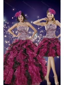 Luxurious Multi Color Strapless Dress for Quince with Leopard Print