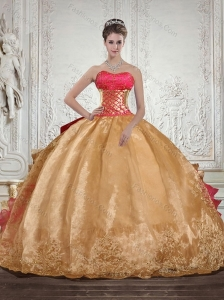 Luxurious Strapless Multi Color Quinceanera Dress with Beading and Embroidery