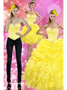 Most Popular Yellow 2015 Quince Dresses with Beading and Ruffles