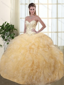 Popular Chamagane Quinceanera Dresses with Beading and Ruffles for 2015