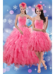 Pretty Rose Pink Quince Dresses with Ruffles and Beading for 2015