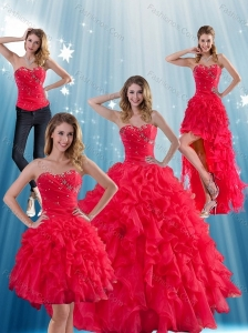 Red Strapless Quinceanera Dress with Ruffles and Beading