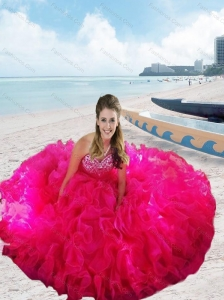 Rose Pink Sweetheart Beading and Ruffles Pretty Quinceanera Dresses for 2015