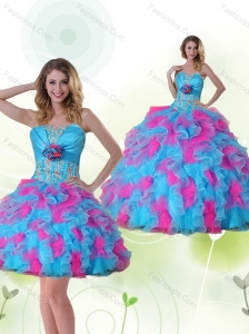 Strapless Detachable Quinceanera Dress with Appliques and Ruffles