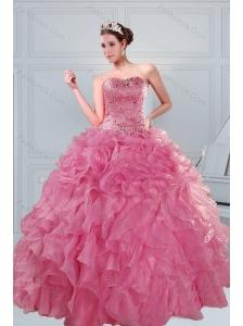 The Super Hot 2015 Beading and Ruffles Quinceanera Dresses in Coral Red