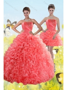 Watermelon Strapless 2015 Quince Dresses with Beading and Ruffles