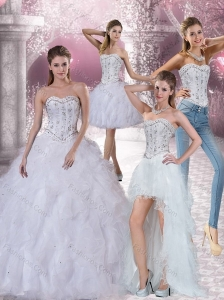 White Sweetheart 2015 Quinceanera Dress with Ruffles and Beading