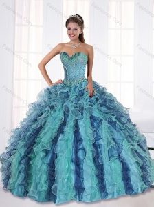 Wonderful Multi Color Quince Dresses with Beading and Ruffles