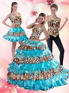 2015 Aqua Blue Leopard Printed Sweetheart Aqua Blue Quinceanera Dresses with Beading